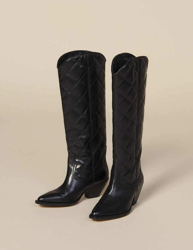 Hohe Santiag-Boots aus gestepptem Leder : Schuhe farbe Schwarz