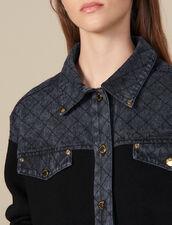 Cardi-coat mit Jeanseinsatz : Pullover & Cardigans farbe Schwarz