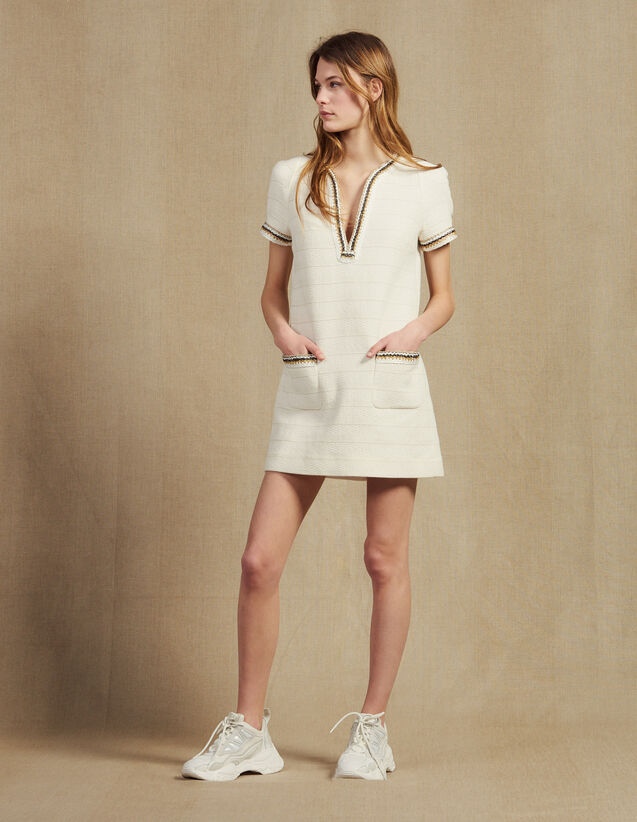Kurzes Tweedkleid Mit Bortenverzierung : Kleider farbe Ecru