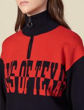 Pullover Mit Stehkragen Mit Schriftzug : Pullover & Cardigans farbe Marine / Rouge
