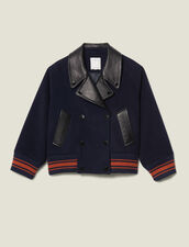 Kurzer Blouson aus Wolle : Mäntel farbe Marine