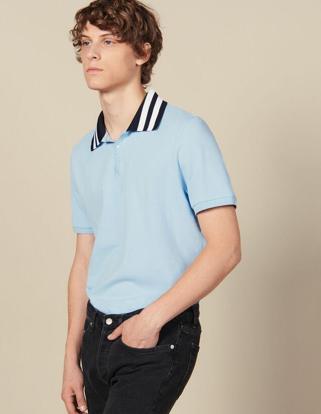 Baumwoll-Poloshirt Mit Streifenkragen : Winterkollektion farbe Sky Blue