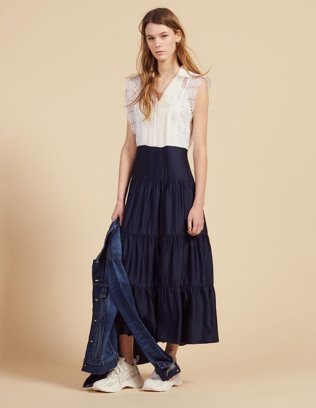 Midi-Kleid Mit Spitzenborten-Verzierung : Kleider farbe Ecru