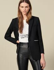 Blazer mit Perlenverzierung : Blousons & Jacken farbe Schwarz
