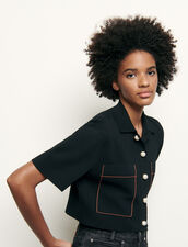 Kurzer Cardigan im Hemdblusen-Stil : Pullover & Cardigans farbe Schwarz