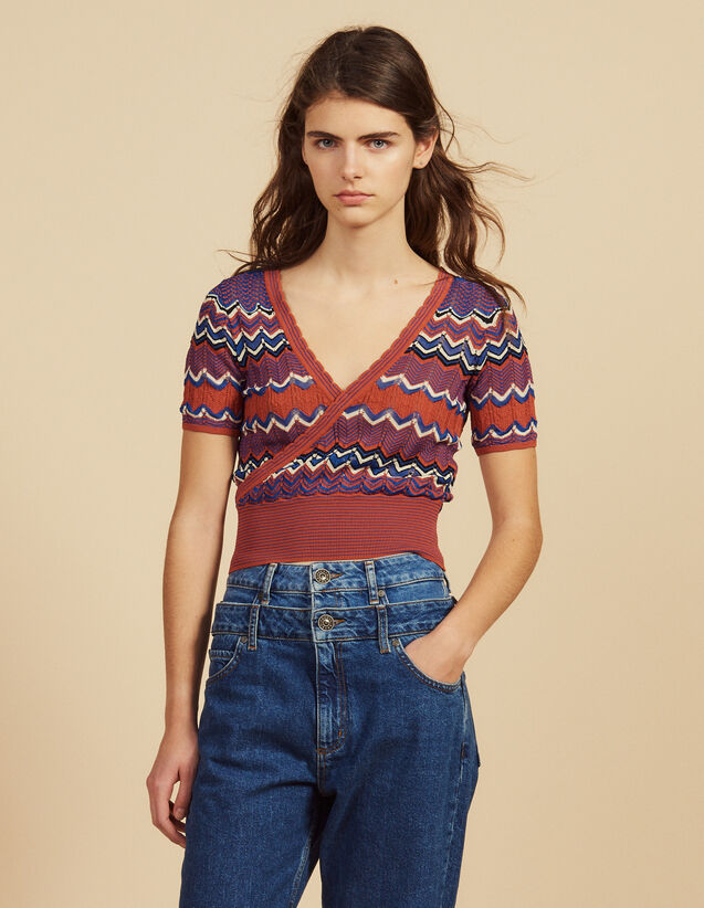 Wickeltop Aus Strick : Tops & Hemden farbe Terrakotta