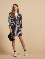 Kurzes Streifen-Kleid Mit V-Ausschnitt : Kleider farbe Schwarz