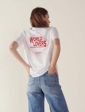 T-Shirt Mit Beflocktem Schriftzug : null farbe Weiß