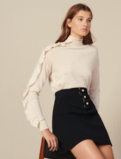 Kurzer Trapezrock aus Meshgewebe : Röcke & Shorts farbe Schwarz