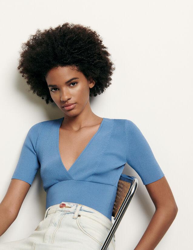 Kurzer Pullover mit Kreuzausschnitt : Pullover & Cardigans farbe Ciel