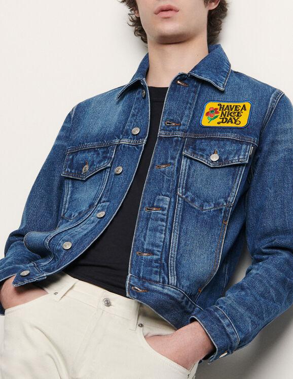 Jeansjacke mit Aufnäher : Blousons & Jacken farbe Blue Vintage - Denim
