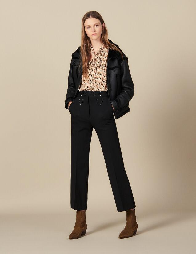 Hose mit Gürtel mit Nietenverzierung : FBlackFriday-FR-FSelection-Pantalons&Jeans farbe Schwarz