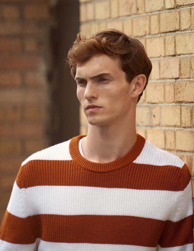 Pullover mit breiten Streifen : Pullovers & Cardigans farbe Ecru/Rouille