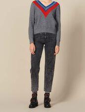 Pullover Mit Borte Am Halsausschnitt : LastChance-ES-F50 farbe Grau