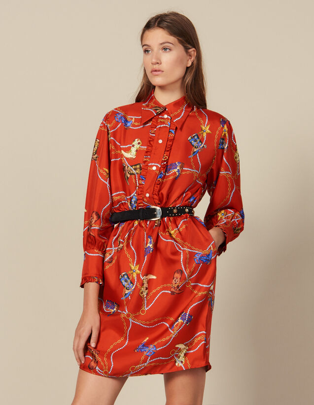 Kurzes Kleid aus Seidentwill mit Print : Kleider farbe Rot