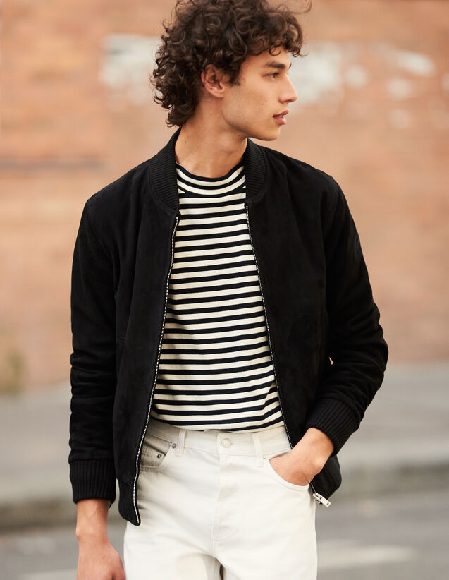 Reißverschluss-Blouson aus Wildleder : Blousons & Jacken farbe Schwarz