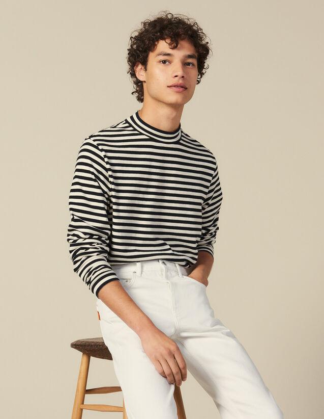 Gestreiftes T Shirt mit Stehkragen : T-Shirts & Polos farbe Schwarz/Ecru