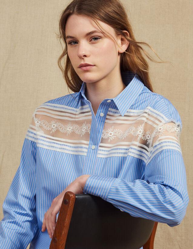 Gestreifte Hemdbluse Mit Spitzeneinsatz : Tops & Hemden farbe Blau