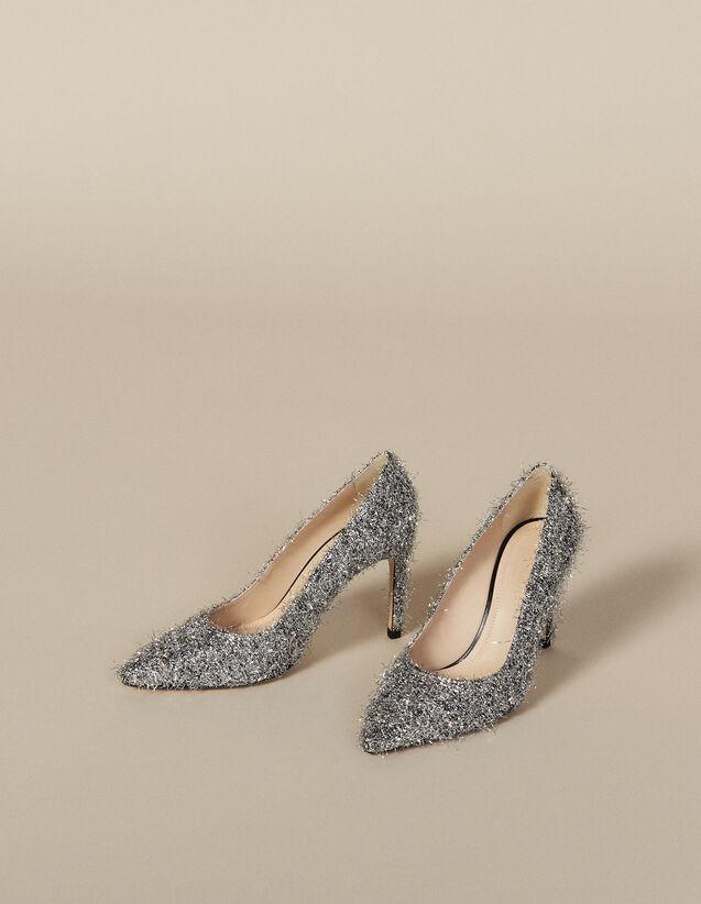 Pumps mit V-Ausschnitt : Schuhe farbe Silber