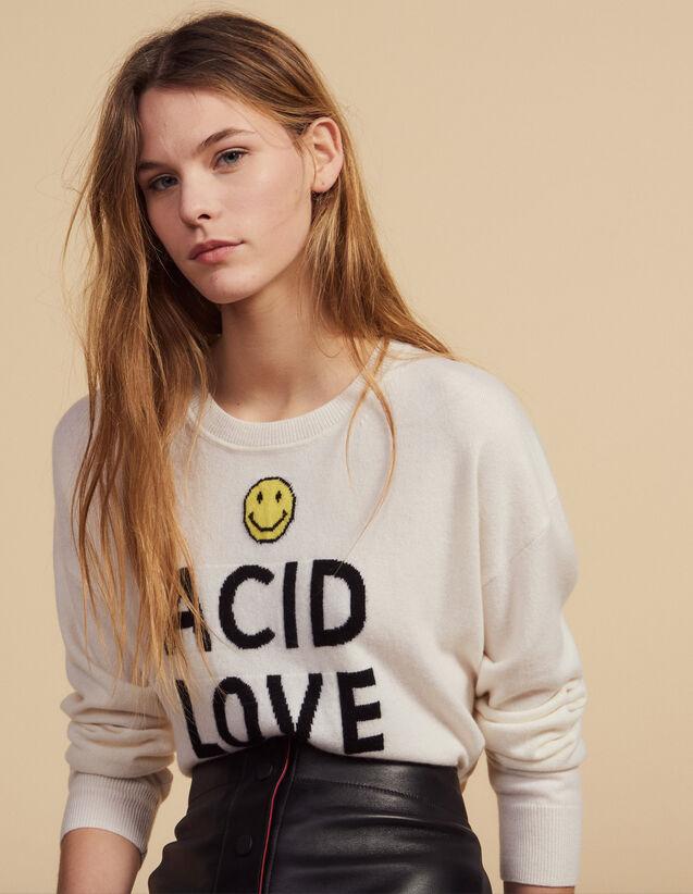Pullover Mit Kontrast-Schriftzügen : Pullover & Cardigans farbe Ecru