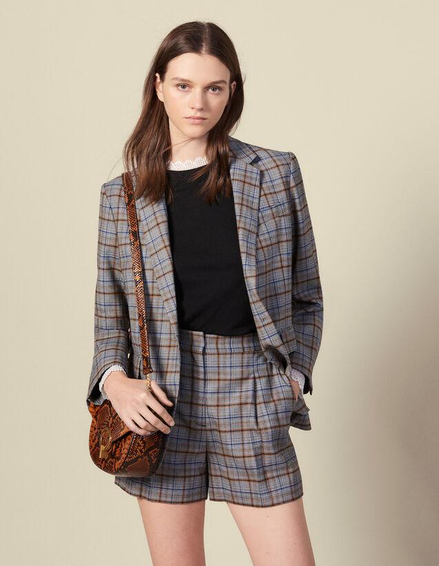 Karierte Shorts mit Falten : Röcke & Shorts farbe Grau