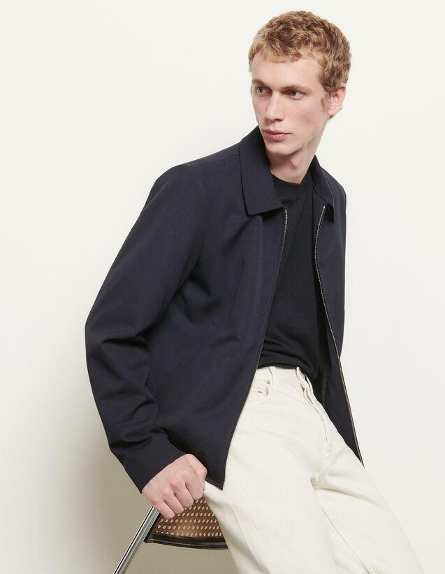 Blouson aus Wolle mit Hemdkragen : Sommerkollektion farbe Marine