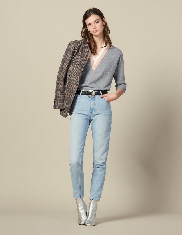 Verwaschene Jeans mit hoher Taille : Jeans farbe Blue Vintage - Denim