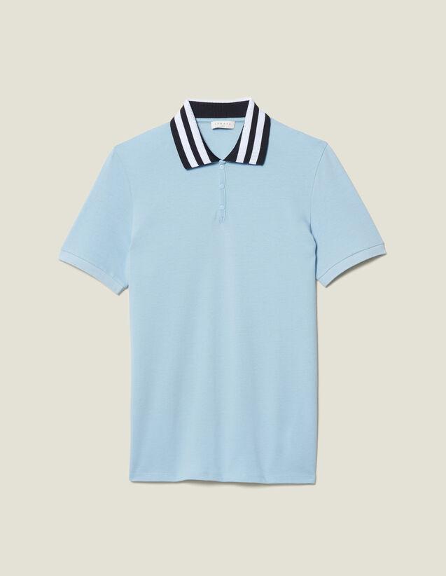 Baumwoll-Poloshirt Mit Streifenkragen : Neue Kollektion farbe Sky Blue