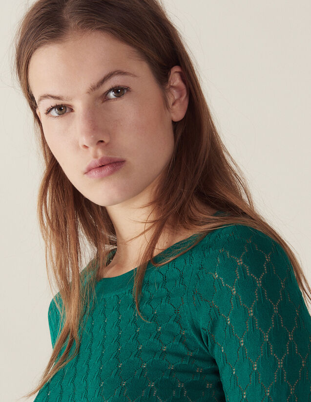 Verspielter Langarm-Pullover : null farbe Grün