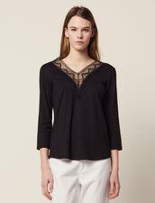 T-Shirt Mit Spitzenausschnitt : null farbe Schwarz