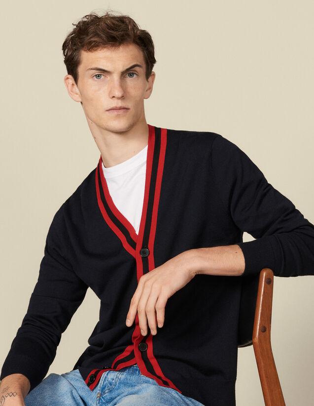 Geknöpfter Cardigan Mit Streifenborte : Pullovers & Cardigans farbe Marine