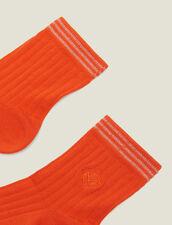 Baumwollstrümpfe Mit Stickerei : Socken farbe Orange Zinnoberrot