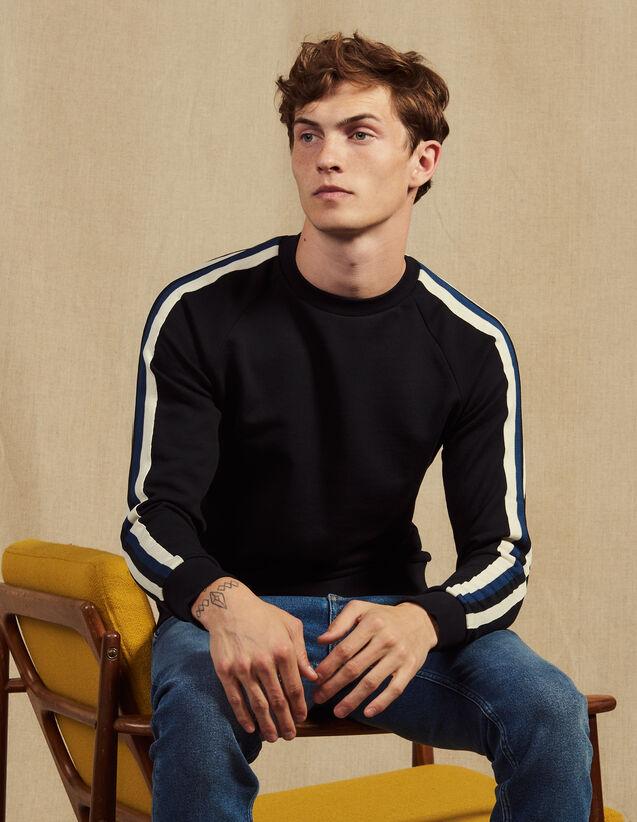 Sweatshirt Mit Dreifarbiger Borte : Sweatshirts farbe Marine