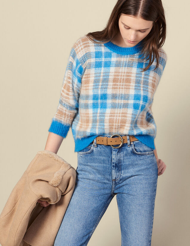 Pullover aus kariertem Jaquard : Pullover & Cardigans farbe Ciel