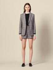 Blazer aus Wolle mit Karomuster : Blousons & Jacken farbe Grau