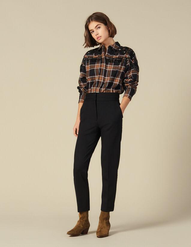 Klassische Hose mit hoher Leibhöhe : Hosen farbe Schwarz
