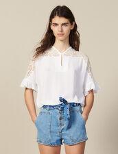 Top Mit Spitzeneinsatz : Tops & Hemden farbe Weiß