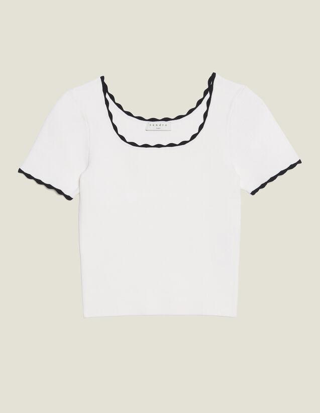 Kurzes Top Aus Passendem Strick : null farbe Weiß