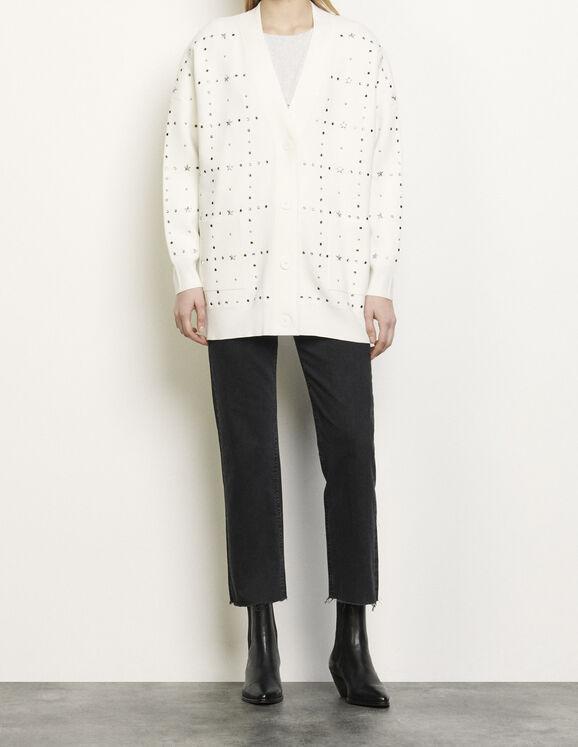 Oversize-Cardigan mit Nietenbesatz : Pullover & Cardigans farbe Ecru