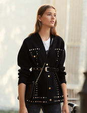 Cardi-Coat Mit Nietenverzierung : New In farbe Schwarz