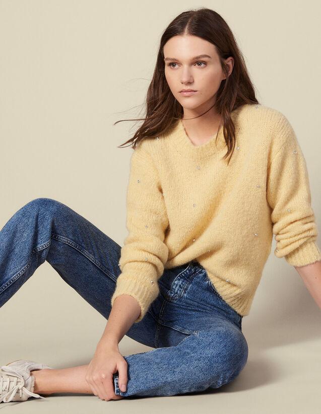 Pullover mit Strassverzierung : Pullover & Cardigans farbe Gelb