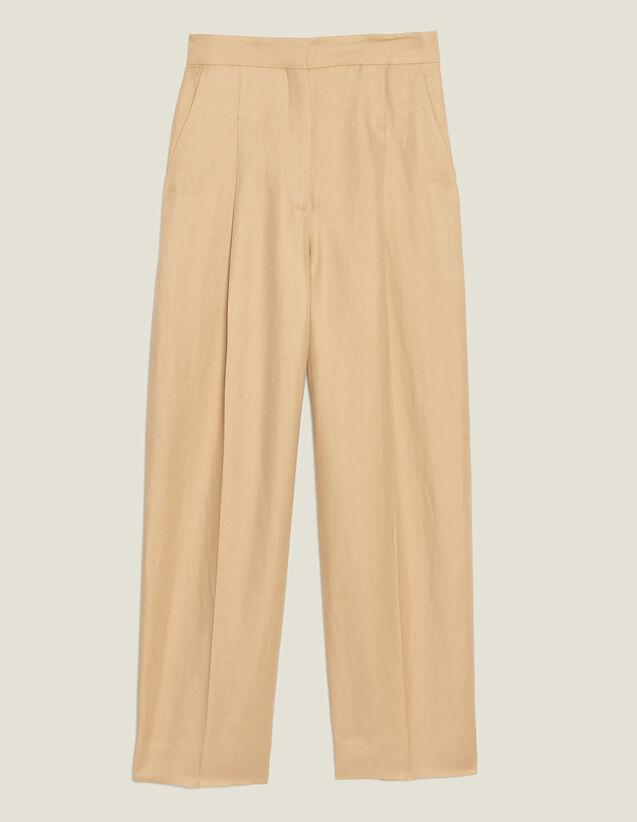 Weite Bundfaltenhose : Hosen farbe Beige