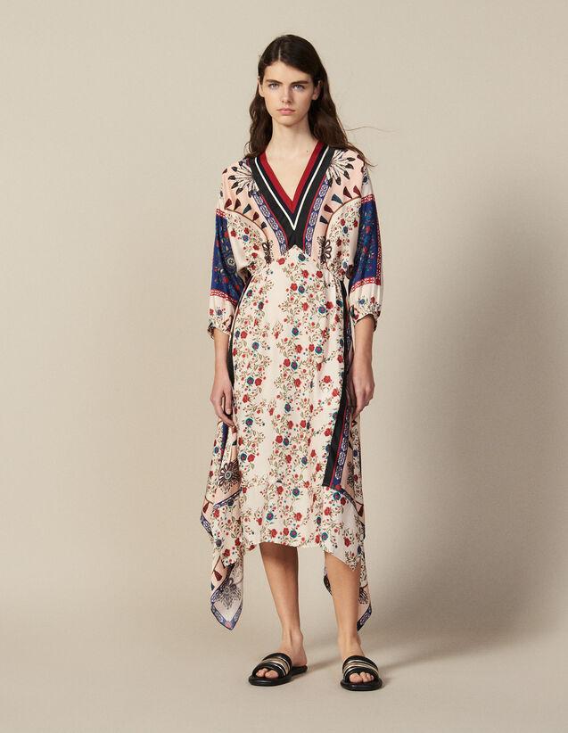 Asymmetrisches Kleid Mit Print & Borte : Kleider farbe Bunt