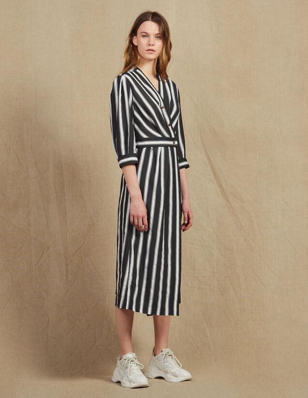 Midi-Kleid Mit Kontraststreifen : Kleider farbe Schwarz