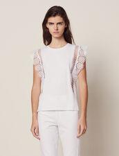 T-Shirt Mit Spitzenborten : null farbe Weiß