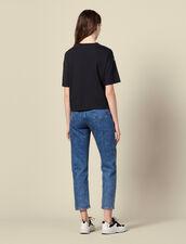 T-Shirt mit platziertem Printeinsatz : T-shirts farbe Schwarz