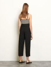 Hose mit hohem Taillenbund und Gürtel : Hosen farbe Schwarz