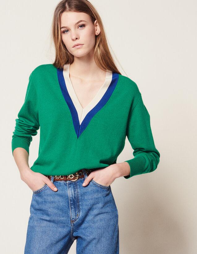 V-Pullover Mit Zweifarbiger Rippung : null farbe Grün