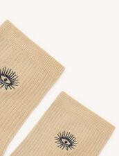 Lurex-Strümpfe : Socken farbe Gold
