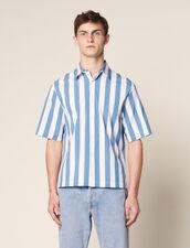 Kurzärmeliges Gestreiftes Casual-Hemd : Sonnenbad farbe Blau